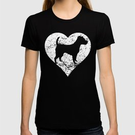 Distressed Jack Russell Terrier Heart Dog Owner Graphic T-shirt