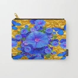 BLUE BUTTERFLIES & M0RNING GLORIES ON GOLD LEAF Carry-All Pouch