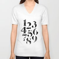 numbers V-neck T-shirts featuring Numbers by Sibling & Co.