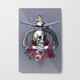 skull, rose, gun, vintage, engraving, pistol, girl, Metal Print