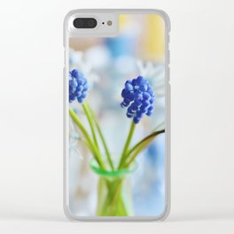 Blue and white spring lily Clear iPhone Case