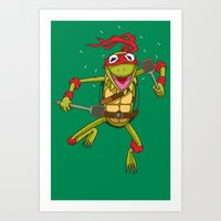 muppet Art Prints featuring TEENAGE MUPPET NINJA PUPPET by T.a. Bryant
