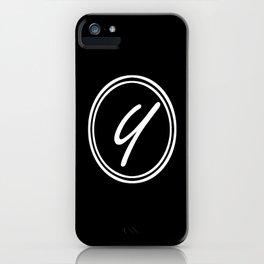 Monogram - Letter Y on Black Background iPhone Case