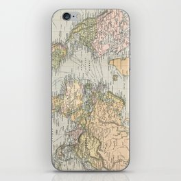 Vintage Map of The World (1892) iPhone Skin