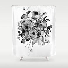 GREYSCALE ROSES Shower Curtain