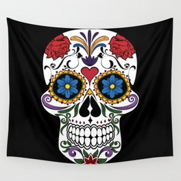 Colorful Sugar Skull Wall Tapestry