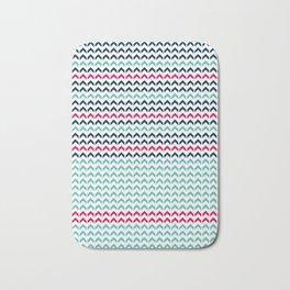 Navy Blue and Aqua Color + Pink Arrows Pattern Bath Mat