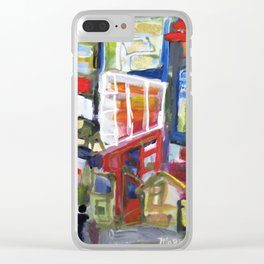 Walking Street Abstract City Scape Blue Red Yellow White Geometric Clear iPhone Case