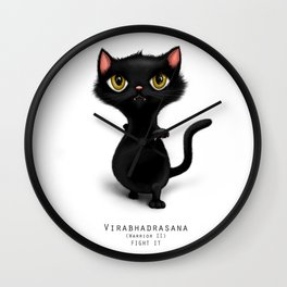 yoga cat warrior 2 Wall Clock