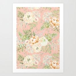 Blush pink peony bouquets pattern Art Print