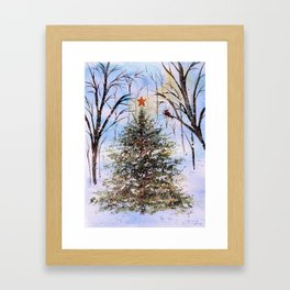 Woodland Winter Christmas Tree Watercolor Framed Art Print