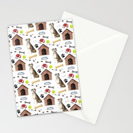 Catahoula Leopard Dog Half Drop Repeat Pattern Stationery Cards