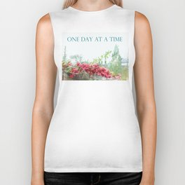 One Day at a Time Fence Flowers Biker Tank
