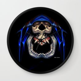 Blue Caped Skull Wall Clock