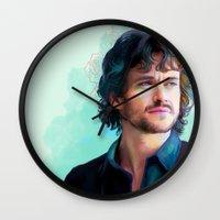 will graham Wall Clocks featuring Will Graham by The Wayward Daughter