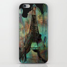 Eiffel Tower Paris Dark Copper Patina Texture iPhone Skin