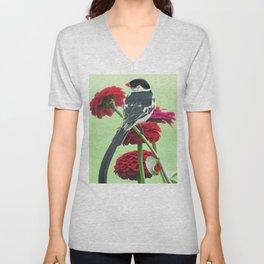 Whydah loving Zinnia flowers Unisex V-Neck
