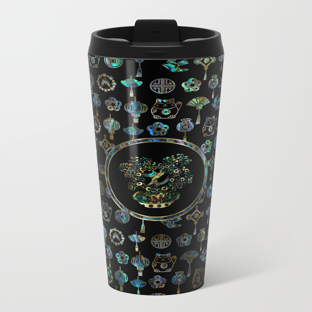 Decorative Chinese Money Tree Abalone Shell Metal Travel Mug by K9printart MTM7960937