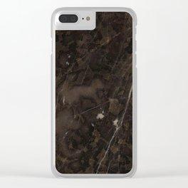 Brown Vein Marble Dark Brown Interior Coffee Home Decor Stone Minimal Design Clear iPhone Case