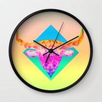 bull Wall Clocks featuring Bull  by Anders Teigene