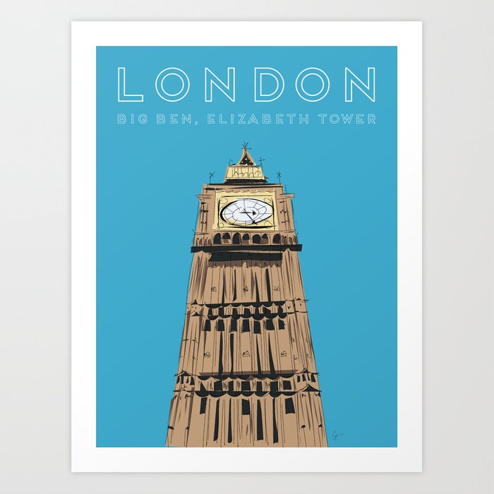 London Big Ben Travel Poster Kunstdrucke