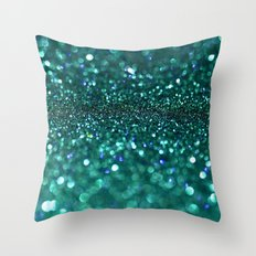turquoise glitter Throw Pillow