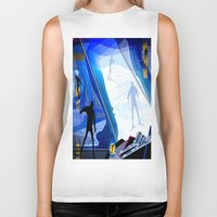 skiing Biker Tanks featuring Cross Country Skiing by Robin Curtiss