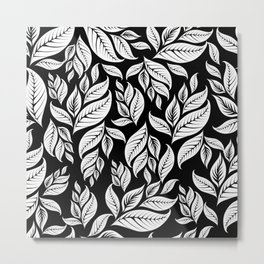 LEAVES IN BLACK AND WHITE Metal Print