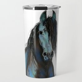BLaCK FRieSiaN HoRSe PRiNT ' THe ONe ' BY SHiRLeY MacARTHuR Travel Mug