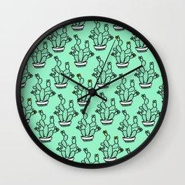 Cacti greenery mexican pattern Wall Clock