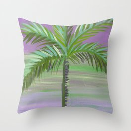 wispy green palm tree purple sky Throw Pillow