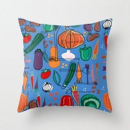 fall veggies blue Throw Pillow