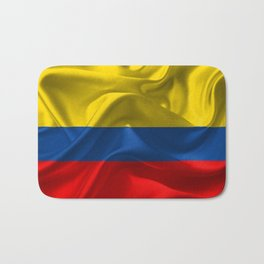 Waving fabric national flag of Colombia Bath Mat