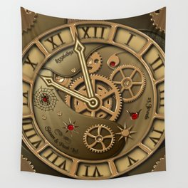 Steampunk clock gold Wall Tapestry
