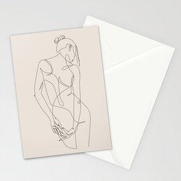 ligature - one line art - pastel Stationery Cards