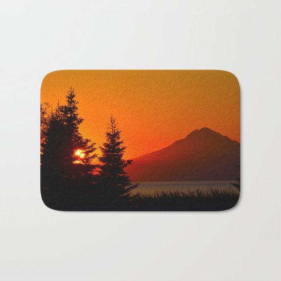 Orange Sky - Mt. Redoubt Bath Mat