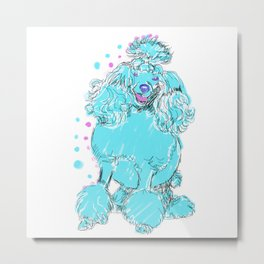 The happy POODLE Love of My Life - your Poo Poo dog keeps you smiling! Metal Print