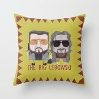 the big lebowski Throw Pillows featuring The Big Lebowski by Francesco Dibattista