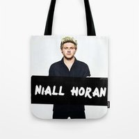 niall horan Tote Bags featuring Niall Horan by girllarriealmighty