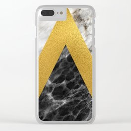 Gold foil white black marble #2 Clear iPhone Case