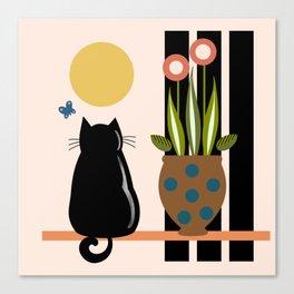 Cat on the windowsill Canvas Print