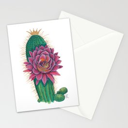 Crowned Cactus with Pink Flower Blossom Stationery Cards