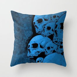 Blue skull pattern Throw Pillow