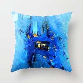 Blue, Black and White Throw Pillow