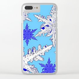 BEAUTIFUL BLUE & WHITE SNOW CRYSTALS  DESIGN Clear iPhone Case