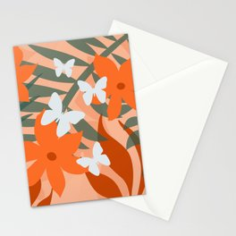 Big Flower White Butterflies Stationery Cards