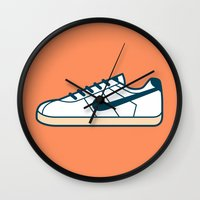 nike Wall Clocks featuring #55 Nike Cortez by Brownjames Prints