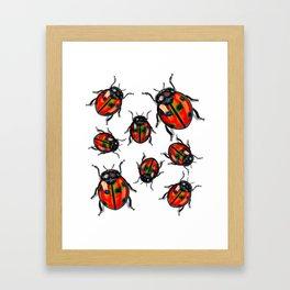 Hyper Spotted Lady Birds Framed Art Print