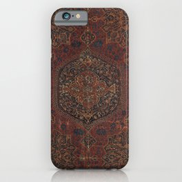 Boho Chic Dark I // 17th Century Colorful Medallion Red Blue Green Brown Ornate Accent Rug Pattern iPhone Case