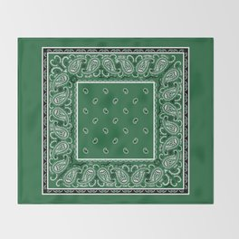 Classic Green Bandana Throw Blanket